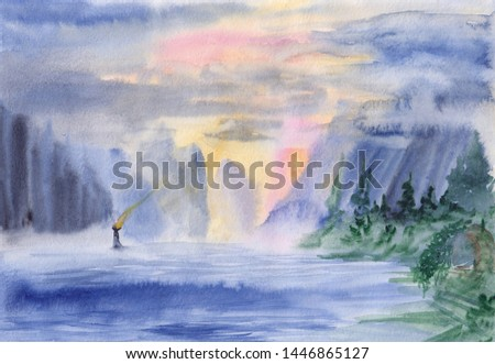 Watercolor painting of peaceful image of calm landscape with vibrant colorful sky, mountains, sea & lighthouse. Serenity background. Seascape for calming mind, meditation, relaxation. Abstract art.