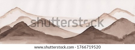 Watercolor painting of South East Asian mountains. Peaceful serene hand drawn oriental landscape with rocks layers. Concept for relax, restore, soothing meditation background. Abstract panoramic art. Сток-фото ©