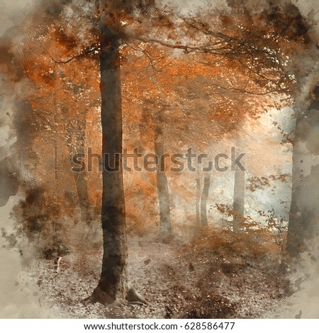 Watercolor painting of Stunning vibrant evocative Autumn Fall foggy forest landscape