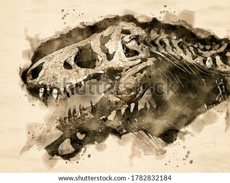 Watercolor painting of the skeleton of a Tyrannosaurus Rex dinosaur. Digital generated painting.