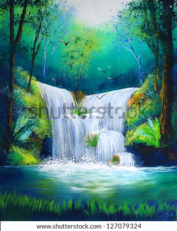 watercolor painting of waterfall - stock photo