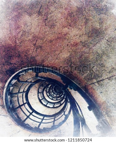 Watercolor painting or simulation watercolor painting of a fibonacci stairway or staircase.