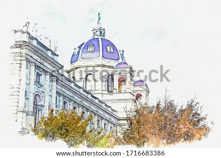 Watercolor painting picture of Kunsthistorisches Museum Famous landmark of Vienna Austria.
