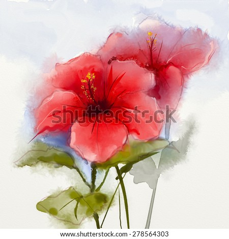Watercolor painting red hibiscus flower . Hand Painted Close up of hibiscus floral petals in soft color and blurred  style on white background