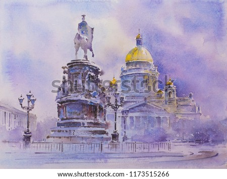 Watercolor painting Saint Isaac's Cathedral or Isaakievskiy Sobor in Saint Petersburg Russia - largest Russian Orthodox cathedral sobor in the city and The Bronze Horseman statue of Peter the Great