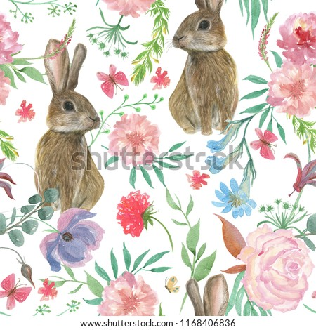 Watercolor painting seamless pattern with beautiful flowers and bunny, butterfly