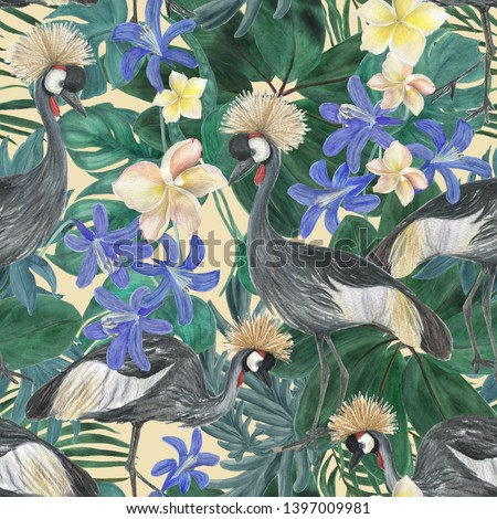 Watercolor painting seamless pattern with plumeria  and  blue exotic flowers , grey crowned crane birds, tropical leaves