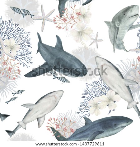 Watercolor painting seamless pattern with shark, coral, seastar, flowers