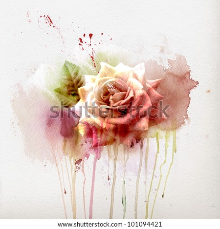 Watercolor painting, sketch with Rose