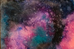 Watercolor painting space background, Abstract galaxy watercolor hand painting,Cosmic nNight with star textured background