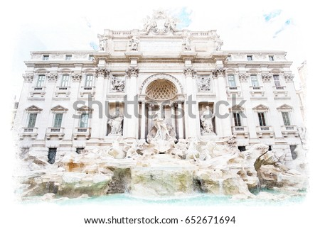 Watercolor painting style of The Fontana di Trevi or Trevi Fountain. the fountain in Rome, Italy. It is the largest Baroque fountain in the city and the most beautiful in the world.
