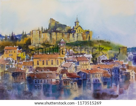 Watercolor painting Tbilisi old town City Mtatsminda Mountain The Narikala Fortress