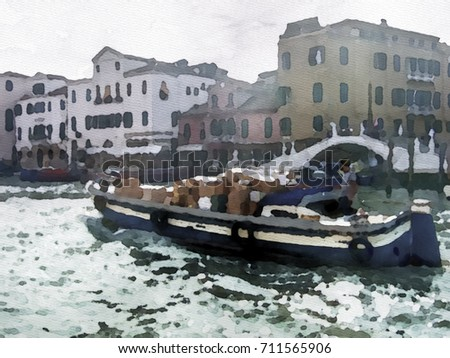 Watercolor Painting; The Landscape View of Canal and City in Venice, Italy
