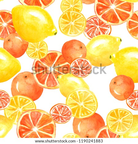 Watercolor painting, vintage seamless pattern - tropical fruits, citrus, slices of lemon, orange, grapefruit. Citrus marmalade, slices. Yellow, orange, red. Fashionable stylish art background.