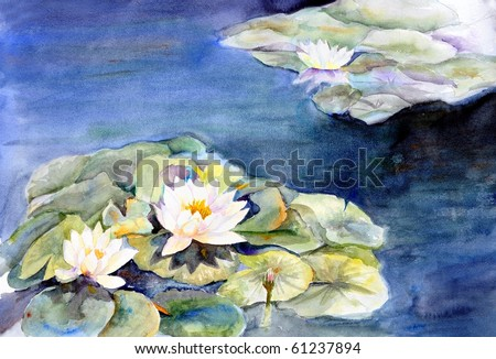 watercolor painting waterlilies in aquatic garden