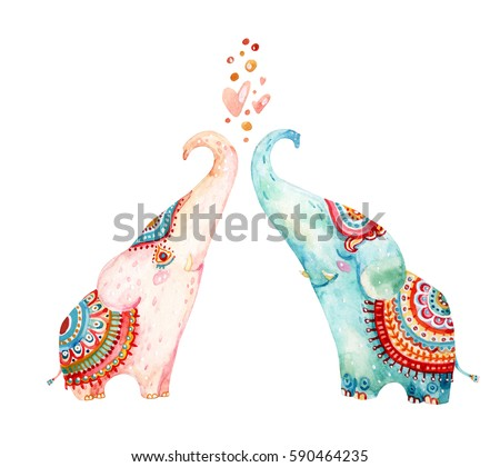 Watercolor pair of lovely elephants isolated on white background. Love concept in cartoon style. Hand painted cute animal illustration