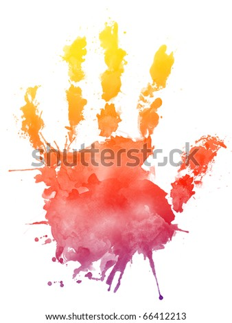 Watercolor Palm on white Background