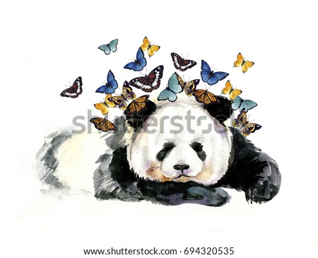 Watercolor panda on the white background with butterfly
