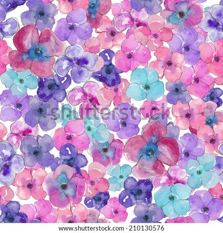 Watercolor Pansies Background. Purple and Pink Painted Flower Background. Seamless Pattern.
