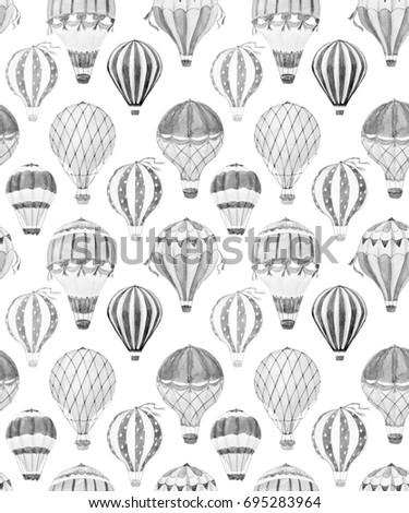 Watercolor pattern cute balloon, balloon with basket.  aerostat . Monochrome print