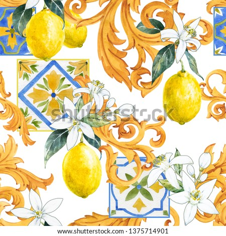 Watercolor pattern in Sicilian style, Golden monograms, white flowers of lemon and fruit, tile with an ornament.