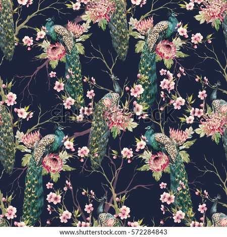 watercolor pattern peacock on a tree cherry, flowering trees. protea flower, retro colors. tree branches. pink chrysanthemum