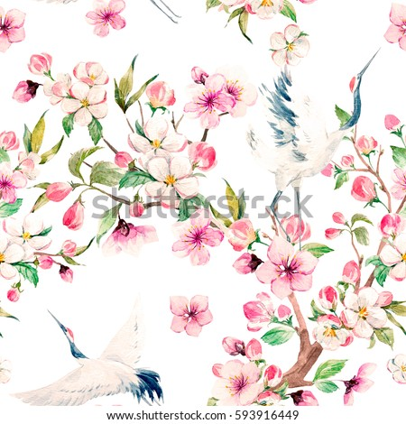 Watercolor pattern Red Heads Crane.  blooming branch of cherry. blooming apple tree. a Japanese traditional motif . gentle spring pattern