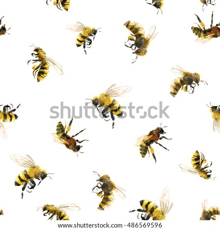 watercolor pattern with bees ...