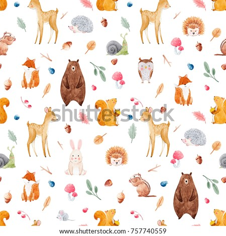 Watercolor Pattern With Cute Animals Forests Pattern Baby
