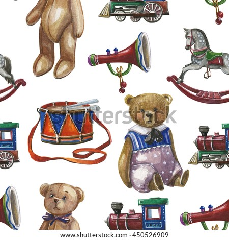 Watercolor pattern with vintage Christmas toys, teddy bear,train, wood horse and quill  on white background.Hand painting kids pattern