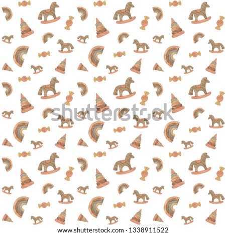 Watercolor pattern with wooden toys. Pattern for fabric, envelopes, bags, pillows, napkins, clothes. Children's kompnata, decorations, birthday, child birth. #1338911522