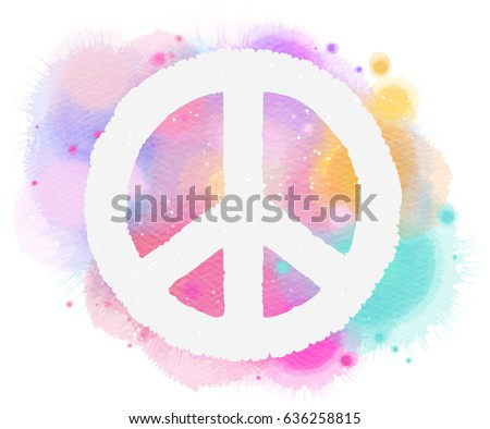 Watercolor peace symbol. Digital art painting.