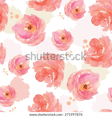 Watercolor Peony Flower Background Pattern. Repeating Painted Floral Pattern