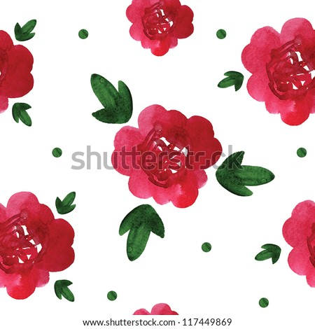 Watercolor peony pattern on white