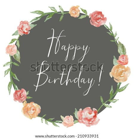 Watercolor Peony Wreath With Happy Birthday Calligraphy. Happy Birthday Background With Flowers.