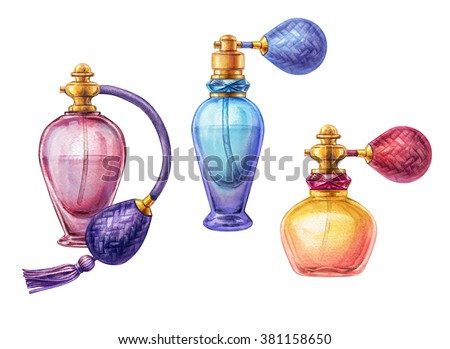 watercolor perfume jar set, blank cosmetics bottles clip art, fashion illustration isolated on white background