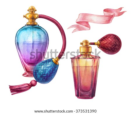 watercolor perfume jar set, vivid glass scent bottles clip art, fashion illustration isolated on white background