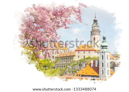 Watercolor picture of beautiful view of church with pink flower at Cesky krumlov in Czech.