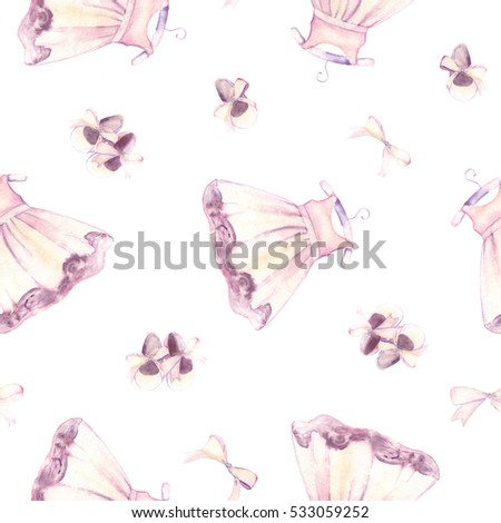 Watercolor pink dress and shoes for little girl. Hand-painted seamless pattern for baby fabric Foto stock ©