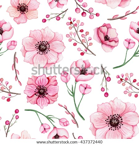 Watercolor Pink Flowers and Berries Seamless Pattern