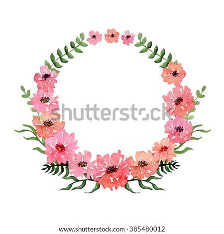 Watercolor Pink Flowers Branch