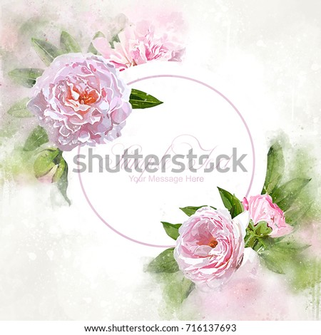 Watercolor Pink Peonies Frame Template #716137693