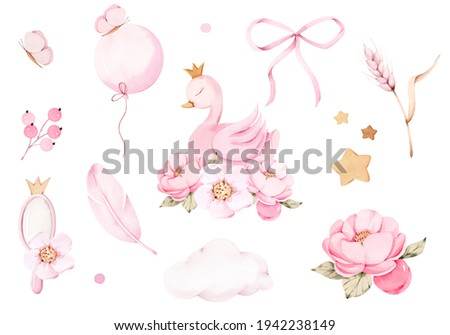 Watercolor pink Princess swan crown peony isolated clipart bow feather mirror cloud star Stock photo ©