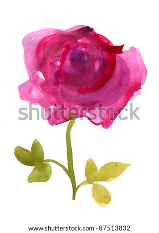 Watercolor pink rose