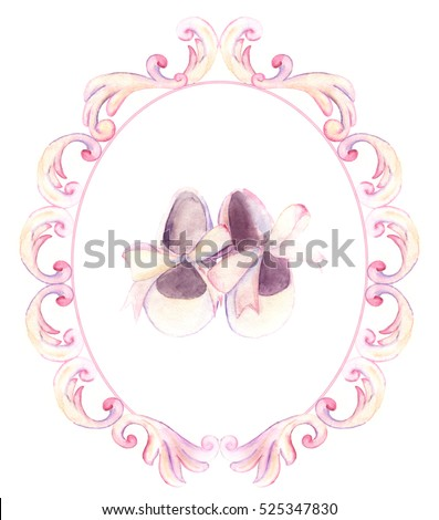 Watercolor pink shoes in ornate frame for a little girl. Hand-painted baby shower card Foto stock ©