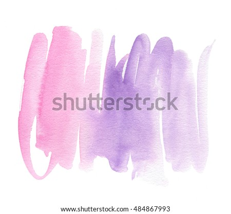Watercolor pink violet hand drawn paper texture isolated stroke on white background for decoration, text design. Colorful wet brush paint abstract line shape element for banner, web, print