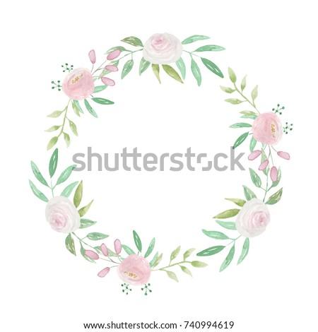 Watercolor Pink White Flower Wreath Wedding Garland