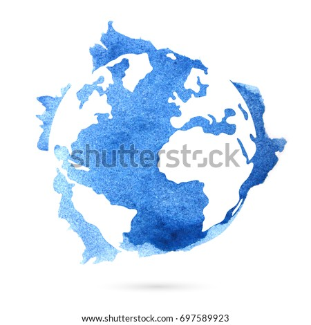 Watercolor planet earth on a white background. Beautiful abstract spot.