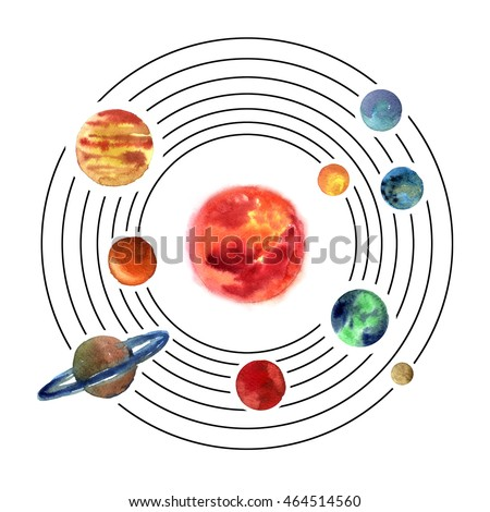 Watercolor planets on space. Solar system illustration.