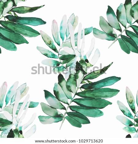 Watercolor plants illustration pattern